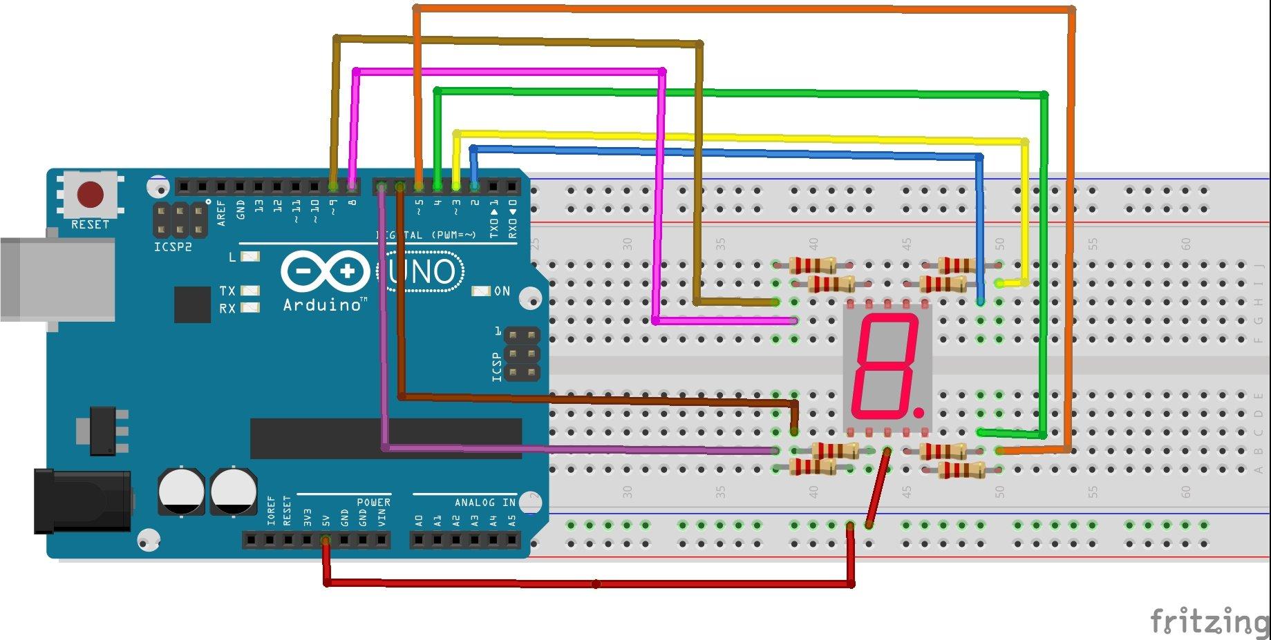 Common Anode type seven segment display interfacing with Arduino