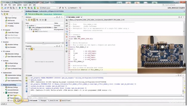 full adder code and implementation with basys 3 fpga board 3
