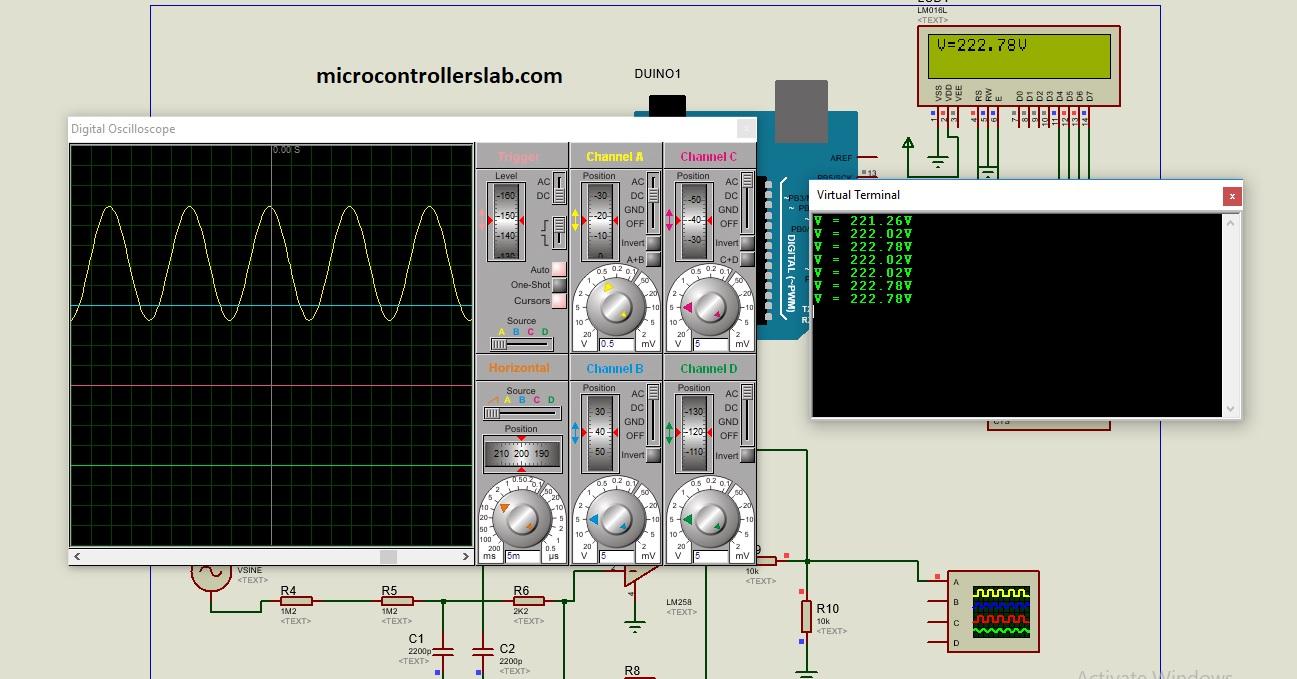 simulation of ac voltage measurement using arduino