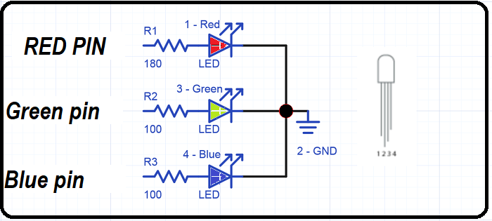 RGB LED with current limiting resistors