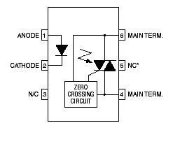 MOC3041 optocoupler pinout