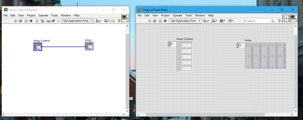 Array control and indicator in labview