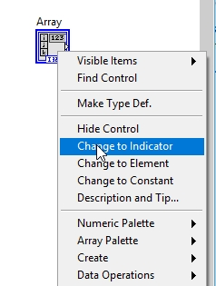 Change to indicator labview