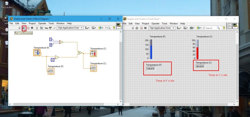 Running the program graphs in labview
