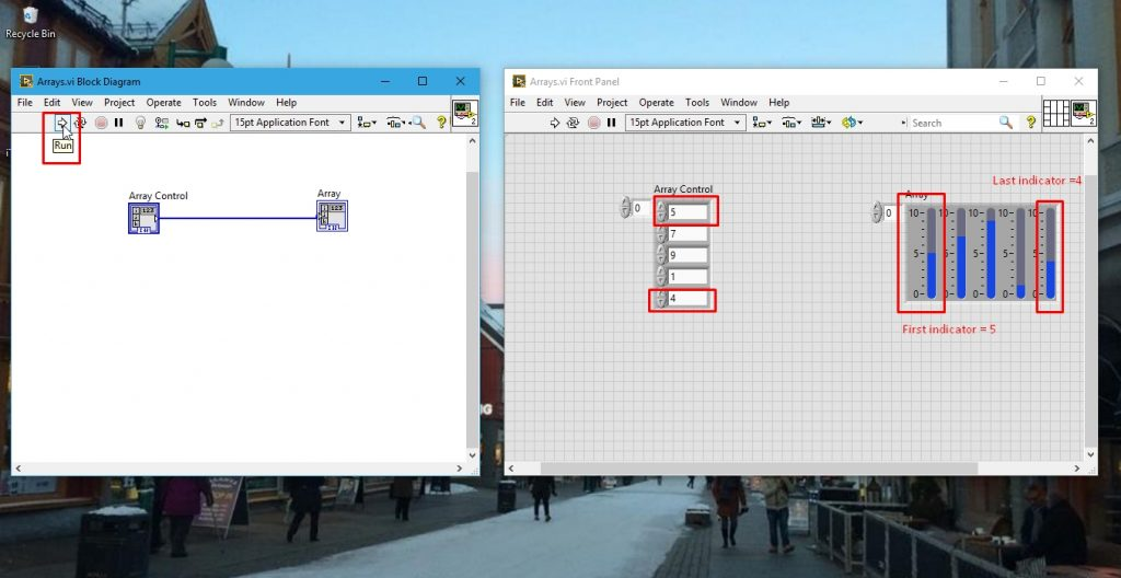 output of array program in labview