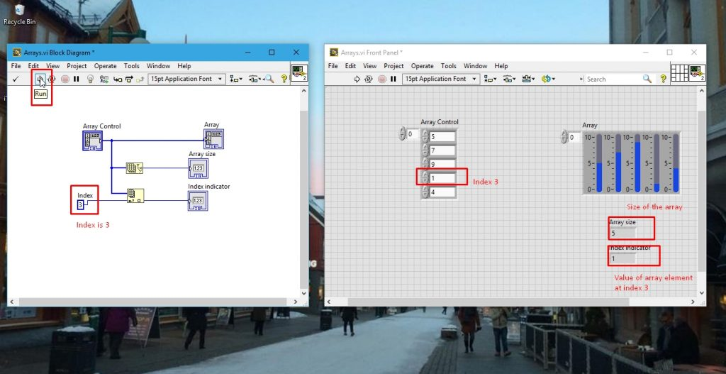 Running the array program in labview