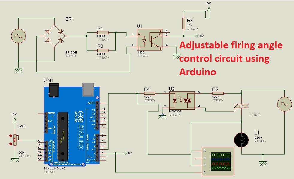 Adjustable firing angle control circuit for thyristor using Arduino