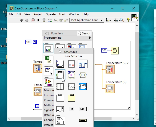 Case structure selection in labview