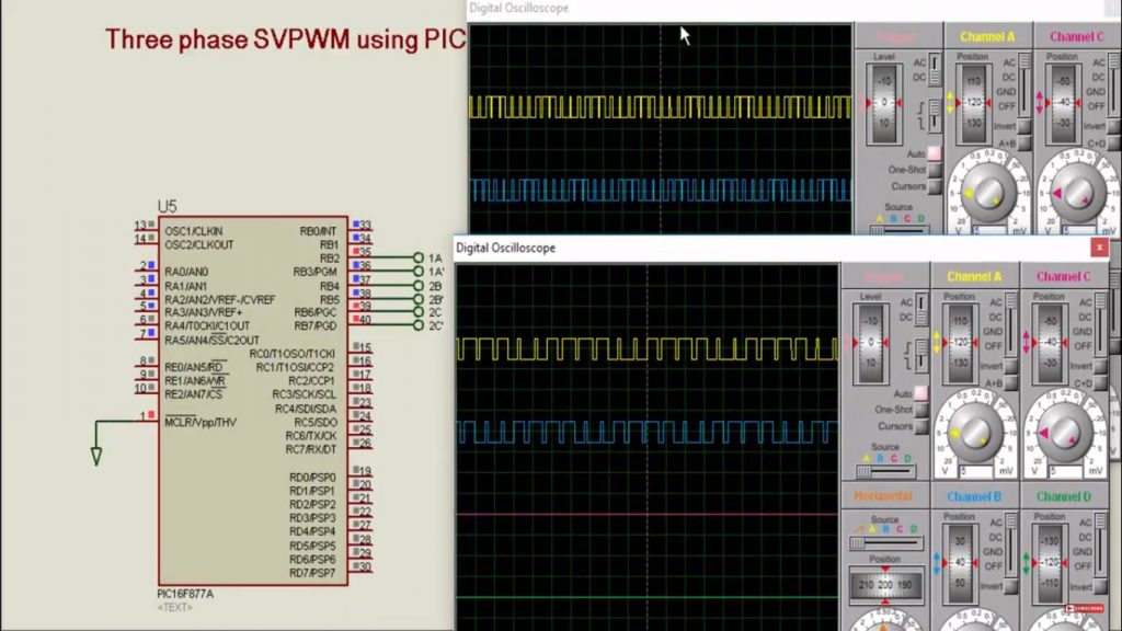 three phase SVPWM using pic microcontroller PIC16F877A