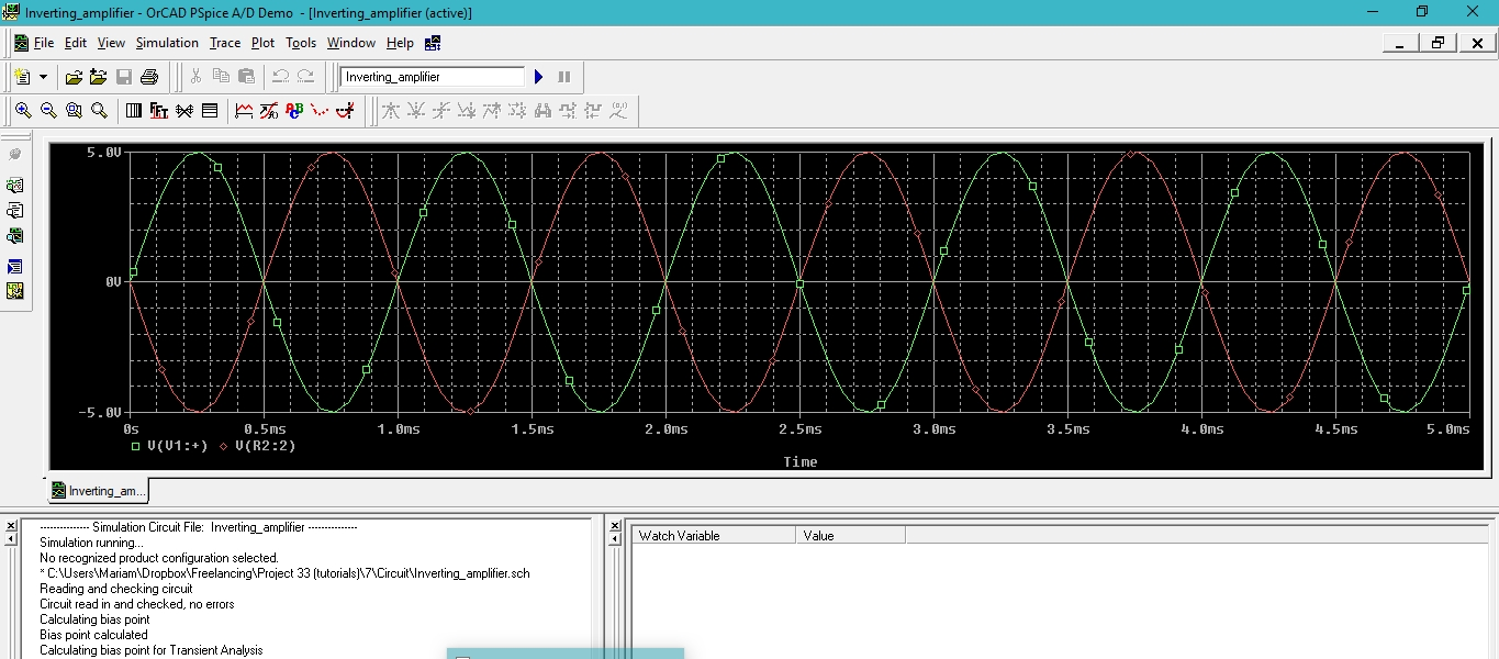 Simulate Inverting And Non Amplifiers In Pspice Tutorial 7 Block Diagram Amplifier