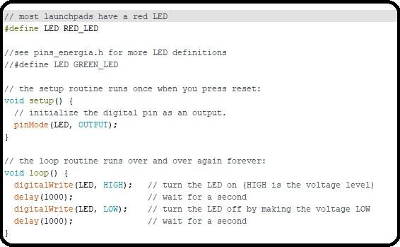 LED blinking code with MSP430