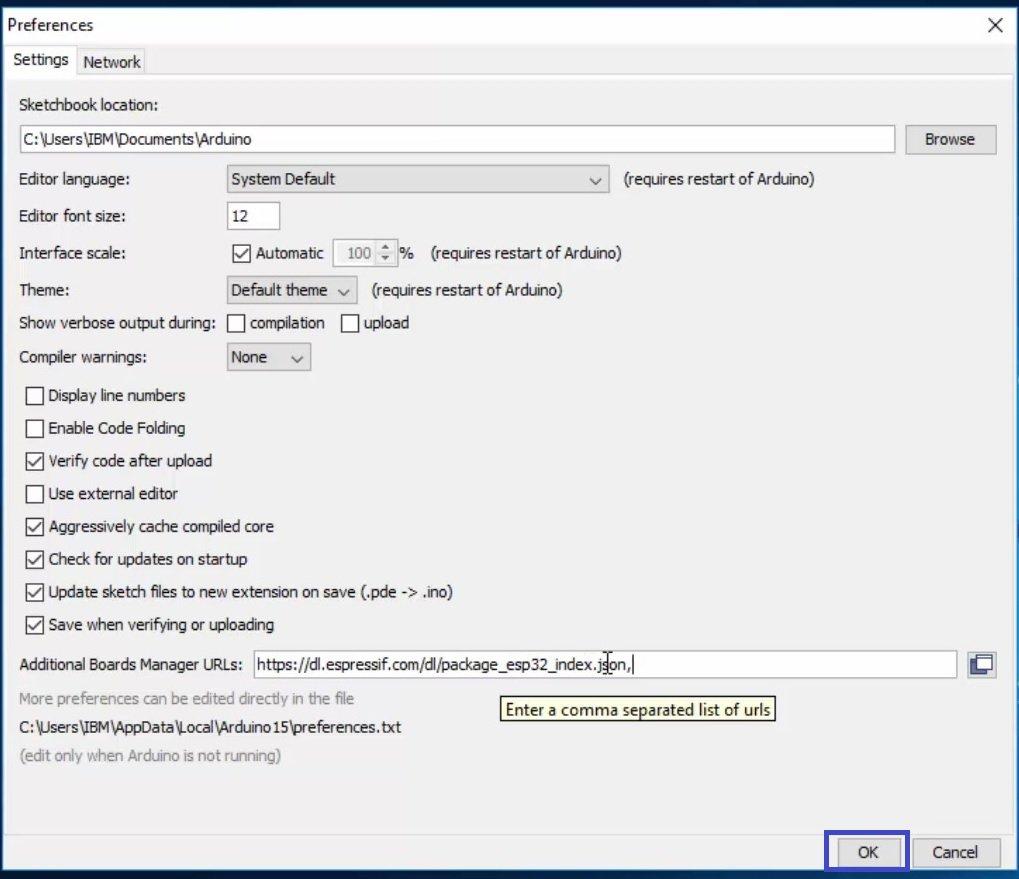 installing ESP32 in Arduino IDE 05