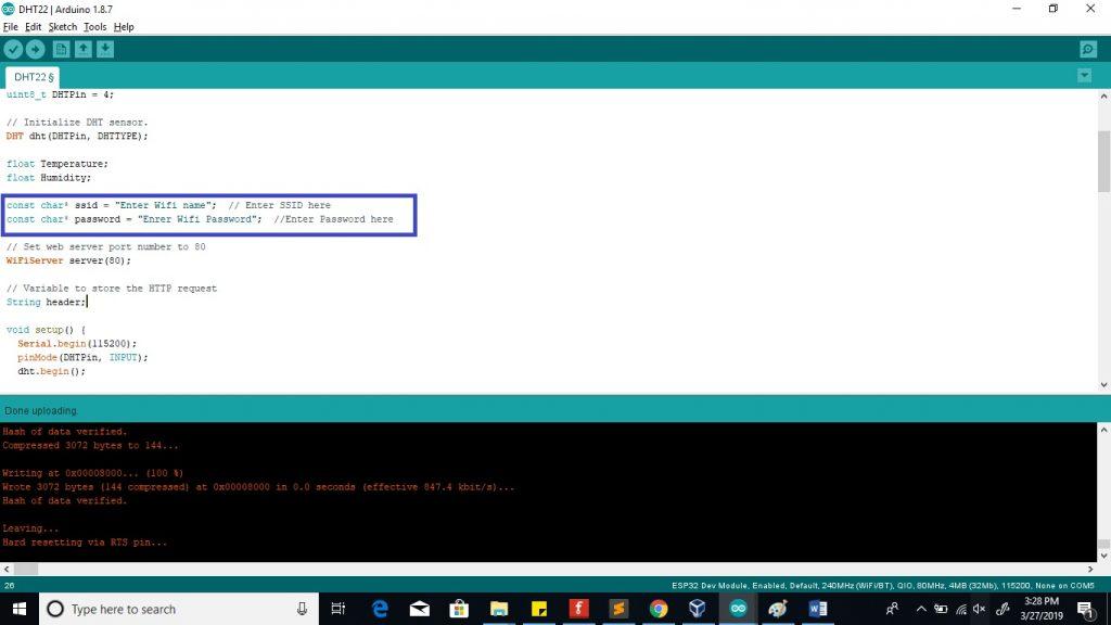 ESP32 Web server reading sensor values enter password