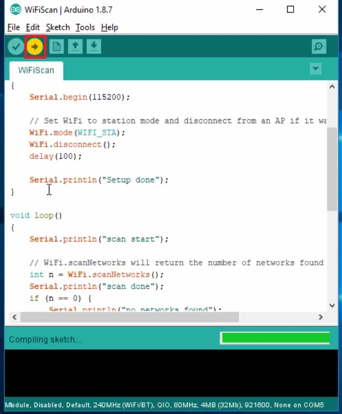 UPLOAD BUTTON ARDUINO IDE