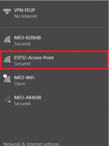 ESP32 soft access point web server connected to computer