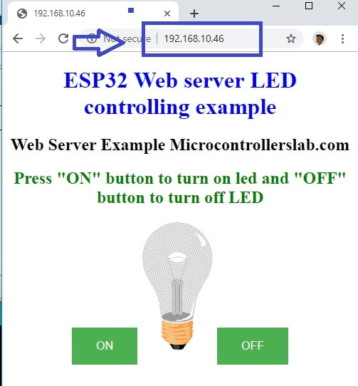 control 220 volt lamp from a webserver using ESP32