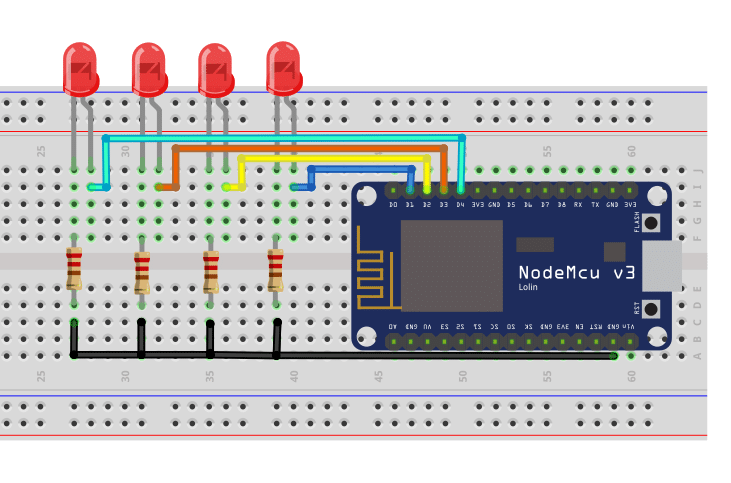 ESP8266 NodeMCU Web Server Circuit