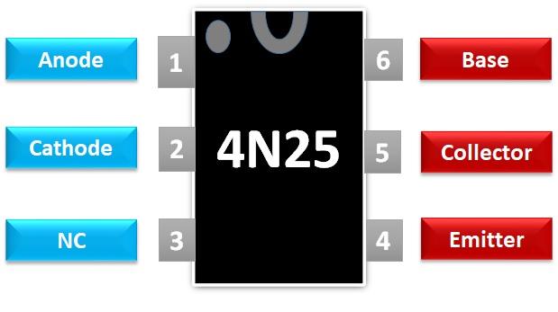 4N25 optocoupler pin diagram pinout