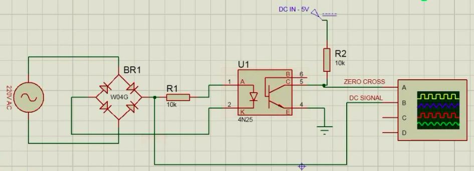 4N25 zero crossing detector circuit