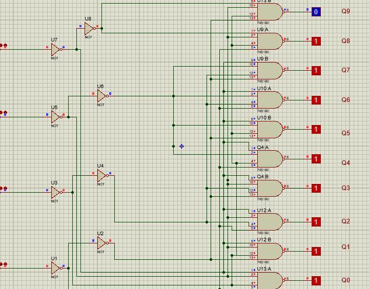 74LS145 proteus example input 1001