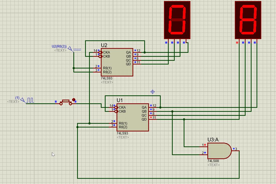 74LS93 based 2 Digit decimal counter example circuit and simulation 45