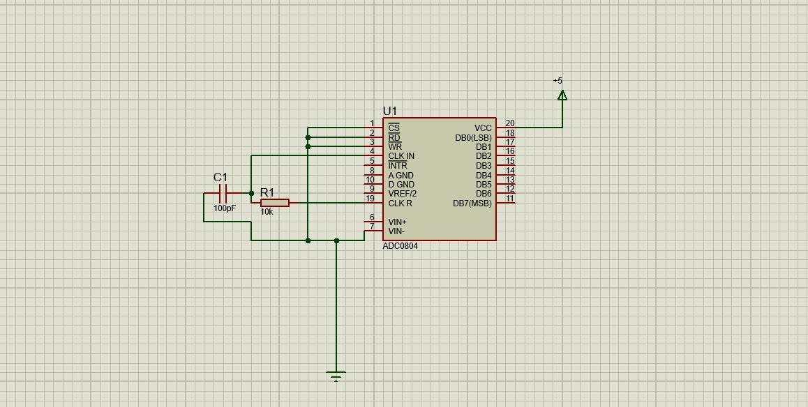 ADC0804 interfacing circuit