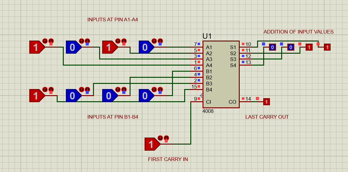 CD4008 full adder example in proteus