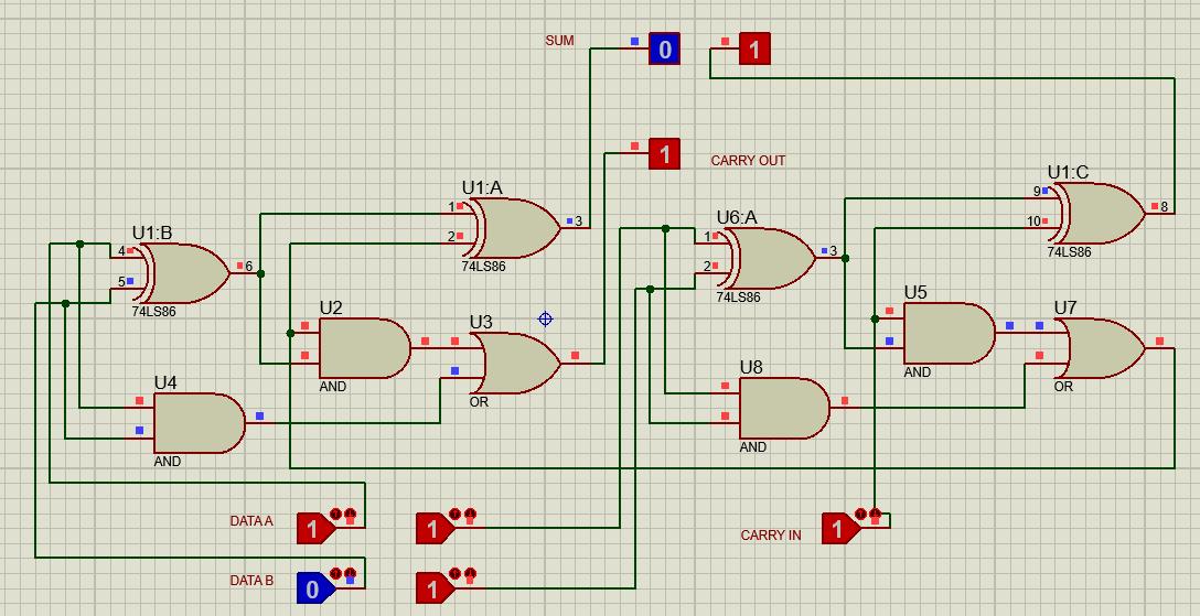 2 bit adder with 74LS86 XOR Gate