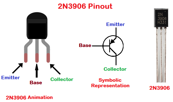2N3906 Pinout configuration diagram