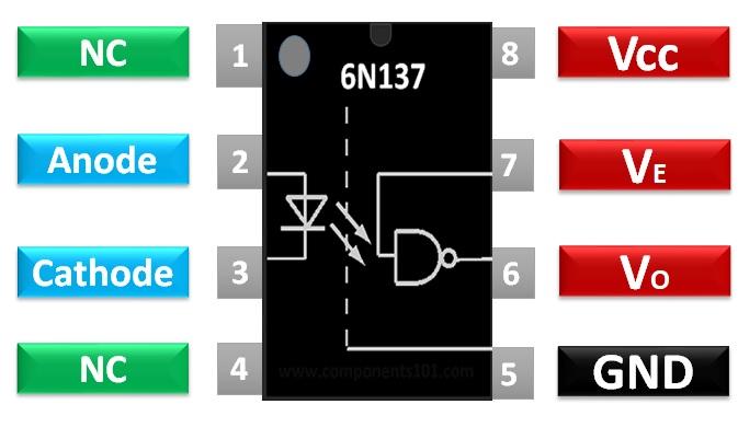 6N137 pinout diagram configuration