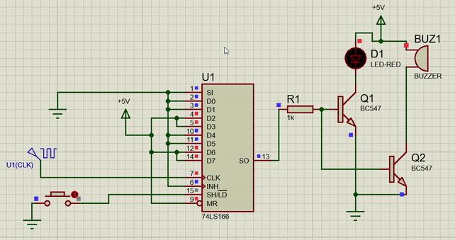 74LS166 shift register Example circuit
