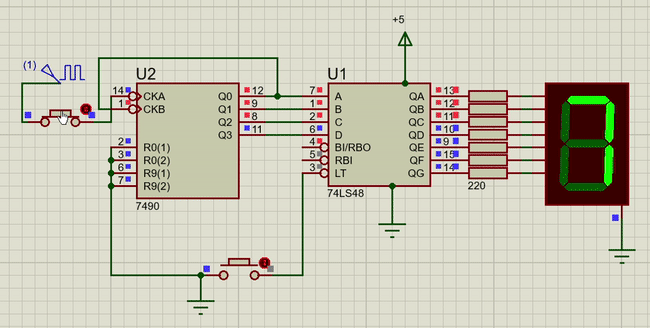74LS48 interfacing with 7 segment display using 7490