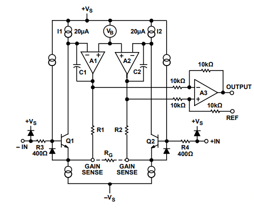 AD620 low cost amplifier schematic