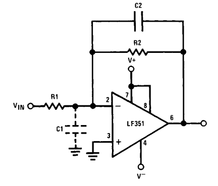 LF351 high input impedance inverting amplifier
