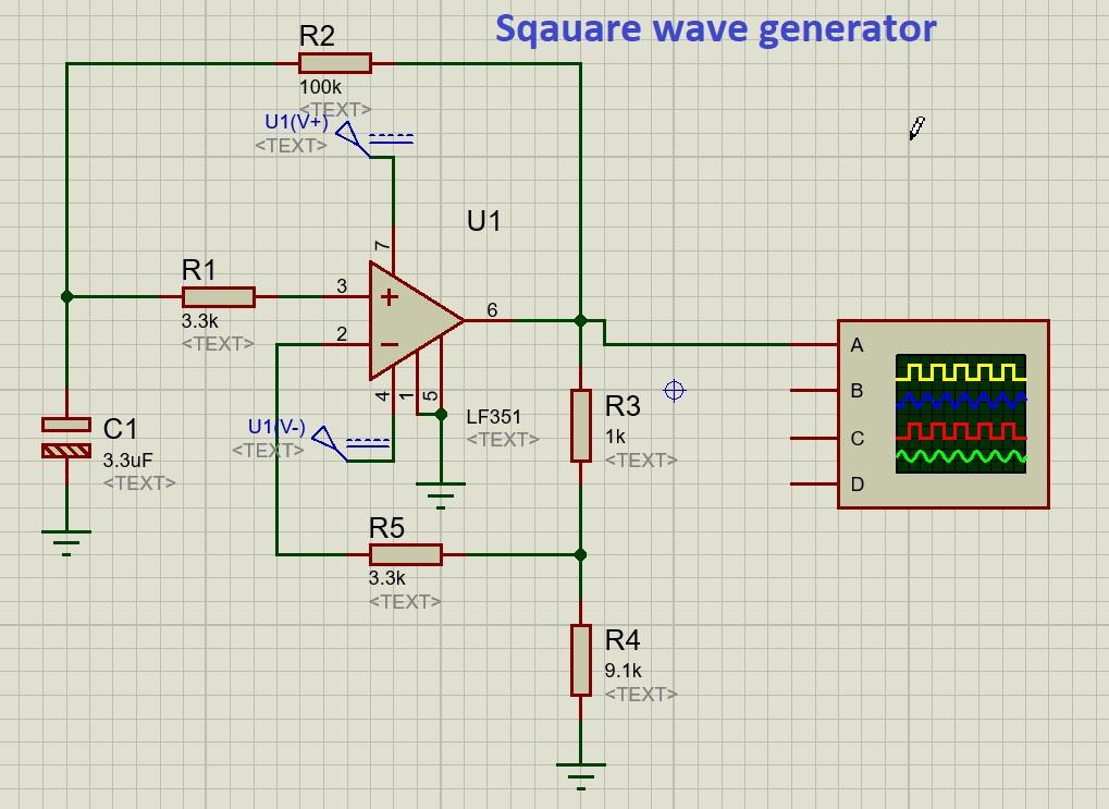 LF351 sqauare wave generator