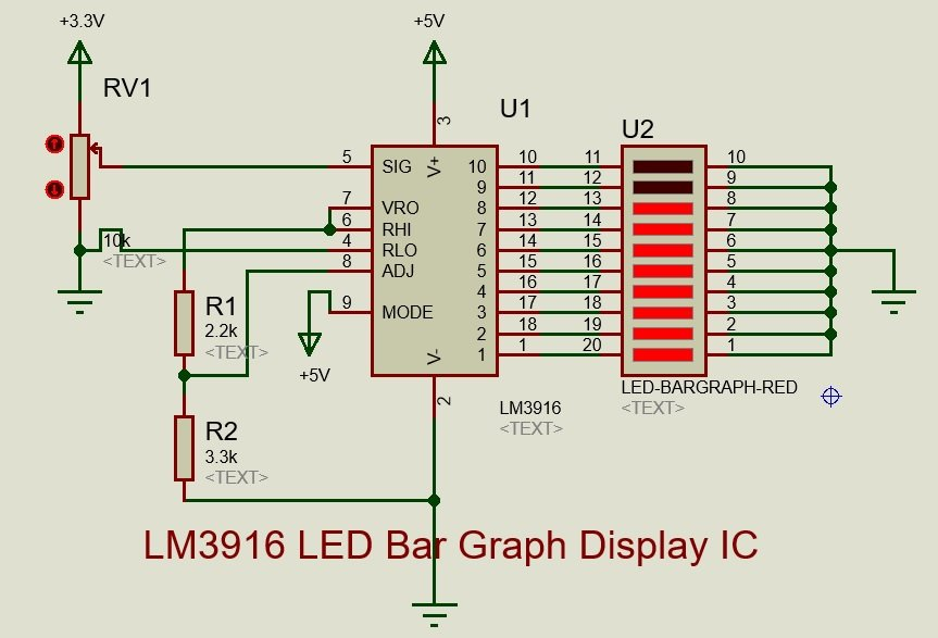 LM3916 Example for LED bar display circuit diagram
