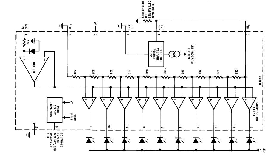 Lm3916 Dot  Bar Display Driver Pinout  Examples  Datasheet