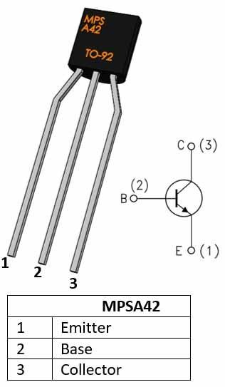 MPSA42 NPN transistor pinout diagram