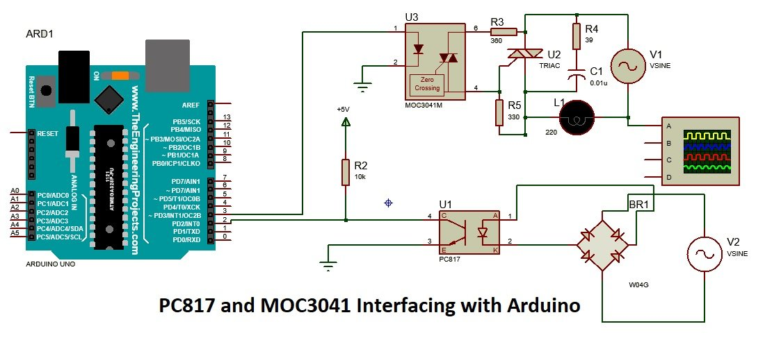 PC817 optocoupler interfacing with Arduino Circuit Diagram