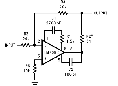 Unity Gain Inverter example Using LM709