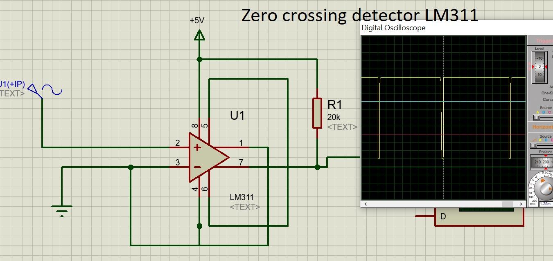 Zero crosssing detector LM311 proteus simulation