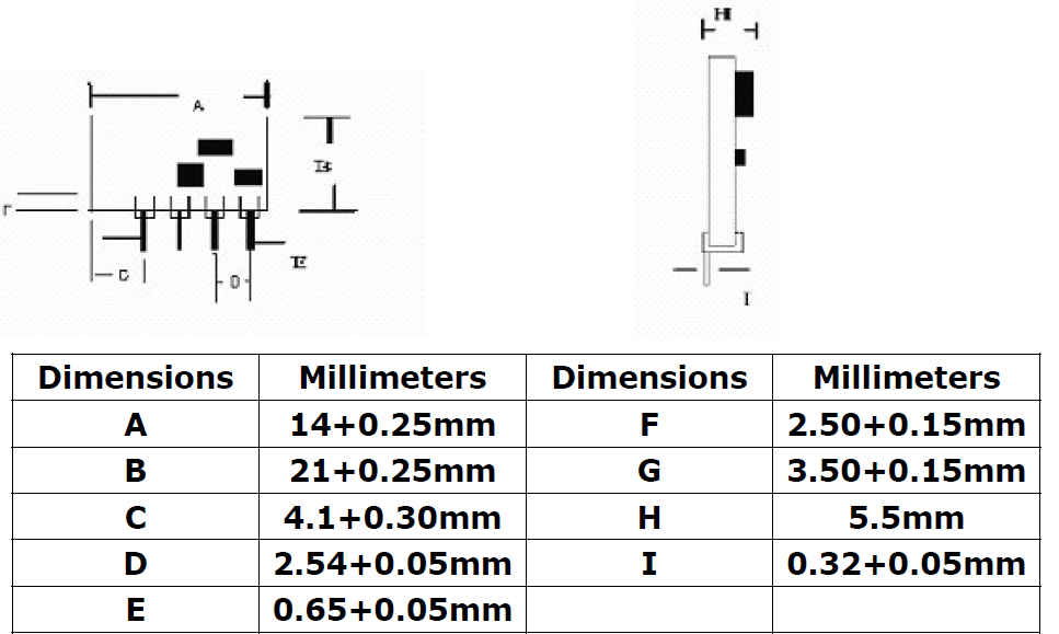 433 MHz RF Transmitter Module 2D Diagram