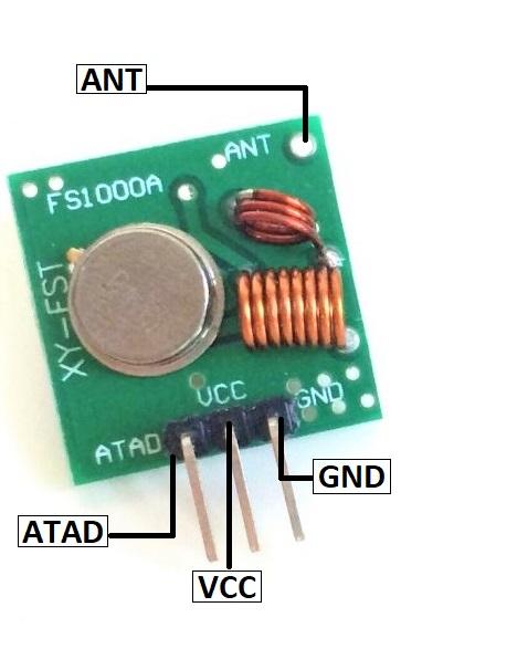 433 MHz RF Transmitter Module Pin Configuration