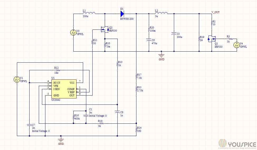 Boost converter circuit example using uc2842