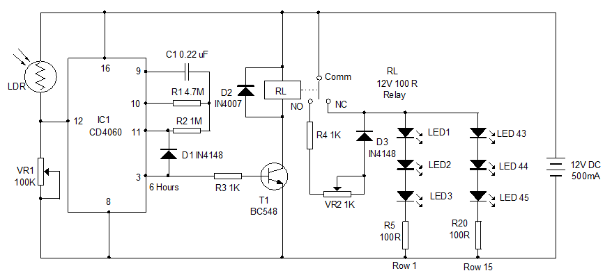 CD4060 Example circuit controlling street light with 6 hours delay