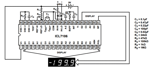 ICL7107 dispay driver reference voltage
