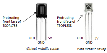 IR receiver with and without metallic head