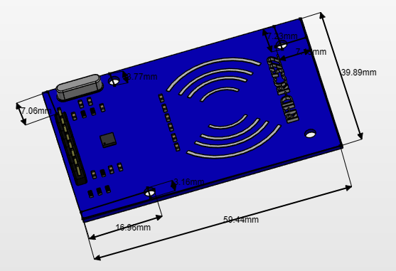 RC522 RFID CARD READERS 2D diagram