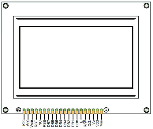 ST7290 Graphical LCD Module Pinout diagram Configuration