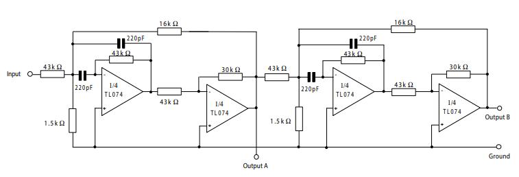 tl074 positive feedback bandpass filter circuit example